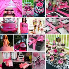 Hot Pink, Black & White Bridal Shower Ideas - With Vintage Silhouette Of Barbie As Inspiration Barbie Theme Party, Barbie Birthday Party, Birthday Party Themes, Girl Birthday, Birthday Bash, Birthday Cakes, Birthday Ideas, White Bridal Shower, Bridal Showers