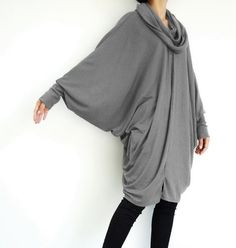 NO.57 Dusty Grey Viscose Oversize Sweater With by JoozieCotton