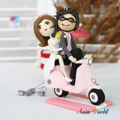 Wedding Cake topper, Clay Couple on Vespa Just Married, wedding clay doll decoration, clay rings holder in wedding, engagement