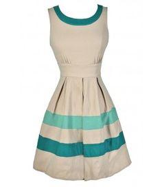 Cute Stripe Dress, Mint and Beige Stripe Dress, Teal and Beige Stripe Dress, Cute Summer Dress, Cute A-Line Dress, Cute Party Dress, Mint Stripe Dress, Teal Stripe Dress