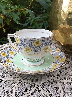 Rosina Coffee Footed Cup Saucer Set Mint Hand Painted England Fine Bone China