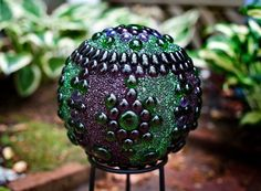 homemade garden globe with the look of stained-glass