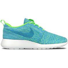 Nike WMNS Roshe One Flyknit ($120) ❤ liked on Polyvore featuring shoes, sneakers, shoe club, women, flyknit shoes, light weight shoes, flyknit sneakers, flyknit trainer and nike sneakers
