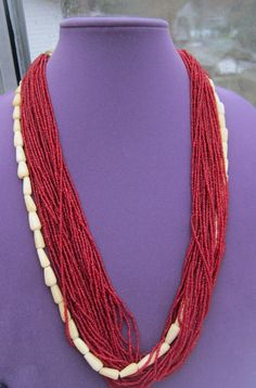 Multi strand red necklace with white bones beads by Framarines on Etsy