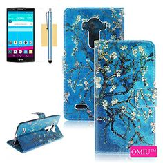 G4 Case, LG G4 Case, OMIU(TM)[Card Slots with Pattern Design] PU Leather Wallet Case Fit For LG G4, Sent Stylus+Screen Protector-(Almond Tree), LG G4 Case