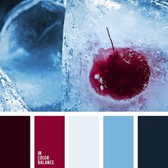 Color Palette Built on a bold contrast of rich red and lighter shades of blue with the addition of Prussian blue, challenging the burgundy in terms of the color strength Burgundy Colour Palette, Green Color Schemes, Blue Colour Palette, Color Combinations, Kitchen Paint Colors With Cherry, Color Celeste, Color Balance, Light Blue Color, Red Color