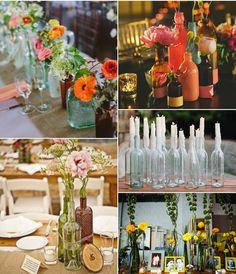 Eco Chic #4. Centros de mesa con botellas/Bottles in center pieces