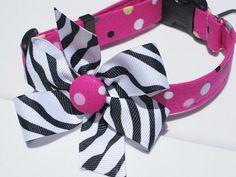 Pink Polka Dot Dog Collar with Zebra Bow