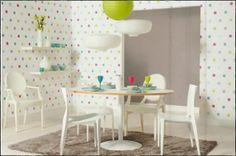 pop up by caselio. #polkadot #wallpaper #kitchen #diningroom