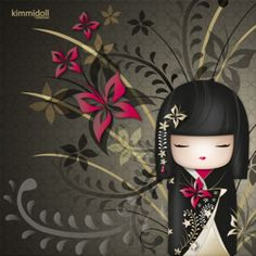 Details about Canvas Art kimmidoll™ - Nana Print Frames Doll Flower Women Asia… Momiji Doll, Kokeshi Dolls, Japanese Geisha, Japanese Art, Anime Chibi, Neo Traditional Roses, Fan Anime, Jolie Photo, Japan Design