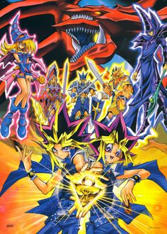 Tags: Yu-Gi-Oh!, Dark Magician, Dark Magician Girl, Yami Yugi, Scan, Character Request, Official Art, Takahashi Kazuki, Studio Gallop, Slifer the Sky Dragon, Yu-Gi-Oh! Duel Monsters, Mutou Yuugi