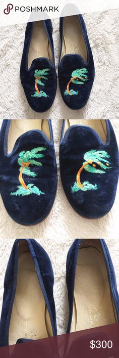 "Stubbs & Wootton Velvet Palm Tree Storm Slippers STUBBS & WOOTTON VELVET SLIPPERS n a v y   ' s t o r m '   p a l m   t r e e s  Size 8 Retail $450  Genuine Leather Hand-crafted in Spain Heel is .75"" in height Stubbs & Wootton Shoes Slippers"
