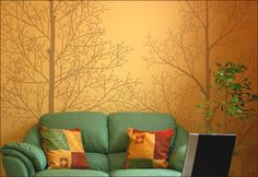 bathroom mural- green walls with white trees