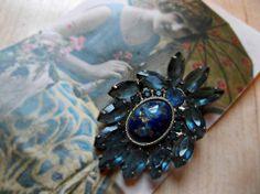 Grandiose,Unusual,Vintage,Blue,Brooch
