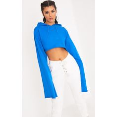 Daniela Bright Blue Extreme Longsleeve Hoodie ($19) ❤ liked on Polyvore featuring tops, hoodies, blue, long sleeve hooded sweatshirt, hooded sweatshirt, blue hoodie, blue long sleeve top and long sleeve hoodie