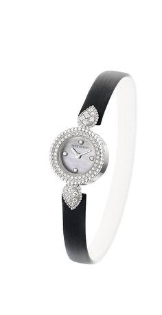 ジュエリーウォッチ、ホワイトゴールド、ダイヤモンド、マザー オブ パール ダイヤル、4石のダイヤモンドのインデックス 、サテン ブレスレット