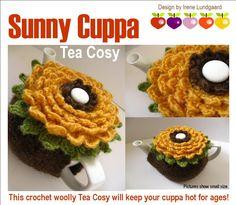 Sunny Cuppa Tea Cosy {inspiration only} Crochet Sunflower, Crochet Flowers, Sunflower Vase, Tea Cosy Pattern, Crochet Cake, Knitted Tea Cosies, Cuppa Tea, Crochet Kitchen, Tea Cozy