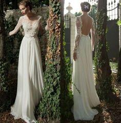 Neu-Spitze-Chiffon-Langarm-Hochzeitskleid-Brautkleid-Abendkleid-32-34-36-38