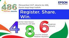 Daftar promo 4-8-6 Hadiah Epson di HUT Jakarta ke-486 & mungkin salah satu dari kita bisa memenangkan hadiah berikut: 4 unit Epson LabelWorks LW-300, 8 voucher Matahari Rp200rb, & 6 paket bingkisan Epson.