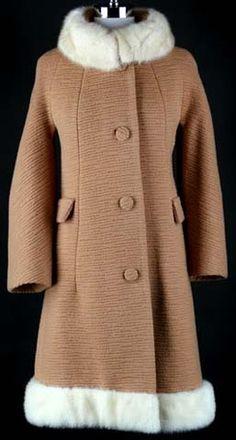 60s camel wool Lilli Ann mink fur mod coat jacket
