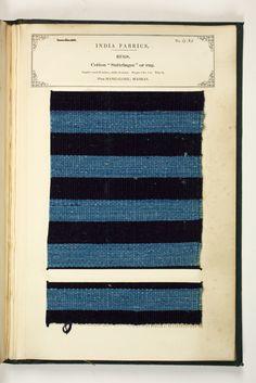 India   Textile Sample Book, Plate No. 435, Rugs   Indigo dyed, woven cotton