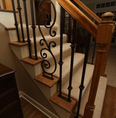 Hand forged iron stair railing