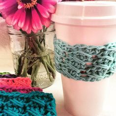 Aqua Blue Coffee Cup Sleeve  Reusable Cotton Coffee by CecesCorner