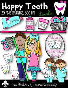 Happy Teeth Clip Art ~ Perfect for dental health month this February! These graphics are fine for CU. TeacherKarma.com