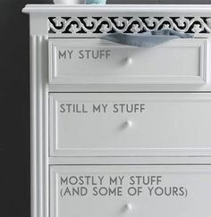 Bedroom storage can get tight, but with some clever stickers, you can hopefully get everyone on the same page once and for all. Click through for more on this and other funny home organization ideas.