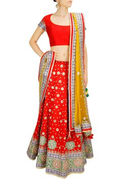 Red floral gota patti embroidered lehenga set BY CITA 9. LOVE THIS