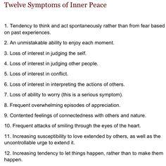 Work in progress...12 symptoms of inner peace
