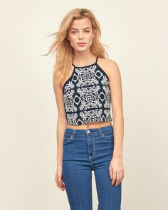 Womens Embroidered Slim Crop Top