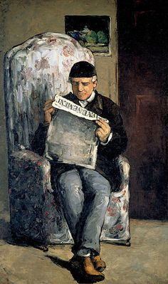 "Portrait of the Artist's Father Louis-Auguste Cézanne, Reading   The Artist's Father, Reading ""L'Événement"". 18661866. Oil on canvas. 200x120cm. Dark period. National Gallery of Art, Washington, D.C. Paul Cézanne (1839-1906)."