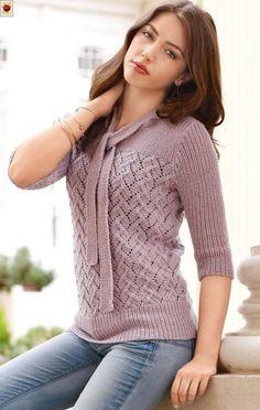 Романтический пуловер спицами ажурным узором с рукавами 3/4. Вязание спицами для женщин схемы и описание.
