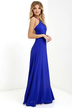 The Pleasantly Surprised Royal Blue Backless Maxi Dress gives you quite a lot to be excited about! A darted, backless bodice rises to meet adjustable spaghetti straps (that cross at back) above a fitted waist. Full woven maxi skirt splays out below. Hidden back zipper.