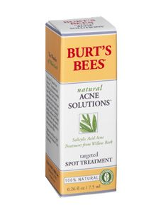 Natural Acne Solutions - Targeted Spot Treatment - Burts Bees. I've gotten great results using this for the past couple weeks. I apply it with my finger tip (I open the bottle, place my finger over the opening and gently shake the bottle a couple times) to each problem area. A tiny bit does the trick - blemishes start to shrink and heal, and redness is reduced without over-drying.