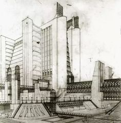 The drawings Antonio Sant'Elia included in his August 1914 Futurist Manifesto of Architecture.