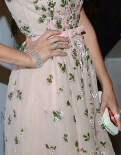 pink and green dress...