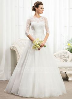 [US$ 199.99] Ball-Gown Scoop Neck Floor-Length Organza Lace Wedding Dress With Ruffle Beading Sequins (002056467)