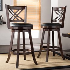 Wallace Espresso Brown 29 Inches Swivel Bar Stool With Black PU Leather Upholstered Seat (Set of 2)