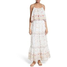 Women's Joie Vernita Popover Bodice Silk Maxi Dress ($448) ❤ liked on Polyvore featuring dresses, porcelain, ruffle maxi dress, white dress, tiered cocktail dress, white tiered dress and tiered ruffle dress