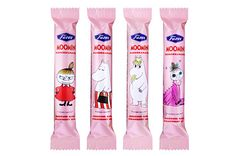 Moomin Chocolate with Strawberry Truffle Stick - a single stick made with Fazer milk chocolate and adorned with one of four Moomin character pictures. Strawberry Truffle, Moomin Shop, Vodka Bottle, Water Bottle, Chocolate Strawberries, 1st Birthdays, Truffles, Birthday Parties, Packaging