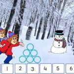 digibordles winter: splitsen van 6 sneeuwballen.
