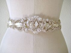 Bridal wedding beaded crystal sash/belt, laced ribbon with exquisite jewel center piece  ROMANTICIZM.