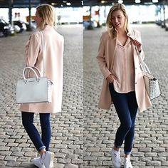 Simply Sinaii - Sacha White Sneakers, Levi's® Lot 721, Michael Kors White Handbag, Selected Femme Pink Coat, Selected Femme Pink Blouse - Pink Day