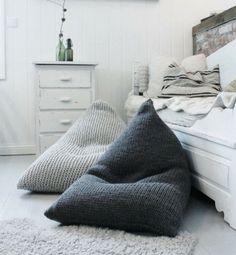 Chunky wool grey Knit bean bag / Kids' bean bag chair / Wool Nursery chair / Grey Floor pillow by GieMarGa on Etsy