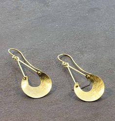 """Jill Platner Oshun Earrings - 19K gold Oshun dangle earrings on wire, approximately 2"""" by 3/4"""""""
