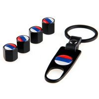 4Pcs Black Pneu Car Styling Russian Federation Flag Stainless Steel Wheel Airtight Tyre Tire Stem Air Valve Caps with Keychain