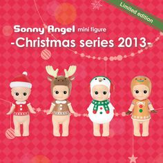 Sonny Angel mini figure wearing christmas headgear.