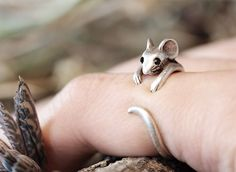 Mouse Ring Womens Girls Retro Burnished Rat Animal Ring Jewelry Adjustable Free Size Wrap Ring Black Crystal gift idea Silver or Gold Tone door authfashion op Etsy